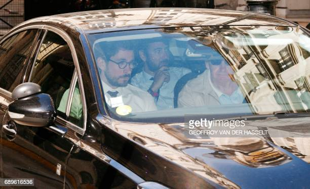 TOPSHOT CORRECTION Antonin Levy lawyer of former French prime minister and presidential candidate Francois Fillon leaves aboard a car the Pole...