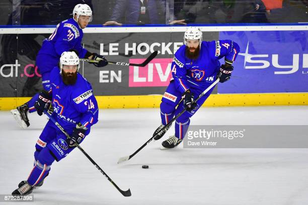 Antonin Manavian of France Jeremie Romand of France and Eliot Berthon of France during the EIHF Ice Hockey Four Nations tournament match between...