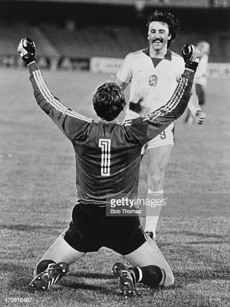 Antonin Panenka runs to congratulate Czech goalkeeper Jaroslav Netolicka as his penalty save gives the team 3rd place in the 1980 European...