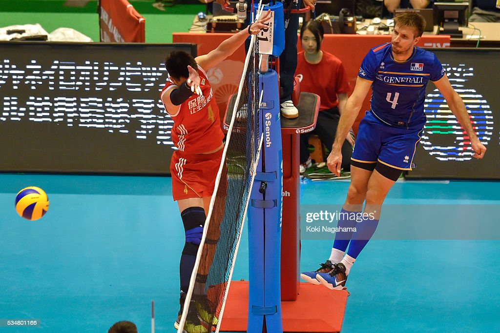 Antonin Rouzier #4 of France spikes the ball during the Men's World Olympic Qualification game between China and France at Tokyo Metropolitan Gymnasium on May 28, 2016 in Tokyo, Japan.