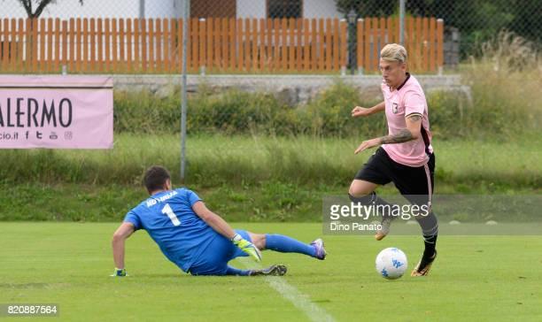 Antonino La Gumina of US Citta di Palermo scores his team's second goal during the PreSeason Friendly match bewteen US Citta di Palermo and ND...
