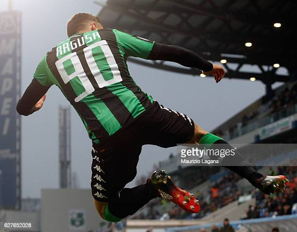 Antonino Ragusa of Sassuolo celebrates the third goal during the Serie A match between US Sassuolo and Empoli FC at Mapei Stadium Citta' del...