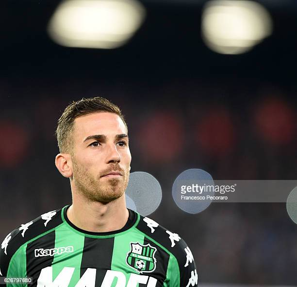 Antonino Ragusa of US Sassuolo in action during the Serie A match between SSC Napoli and US Sassuolo November 28 2016 in Naples Italy