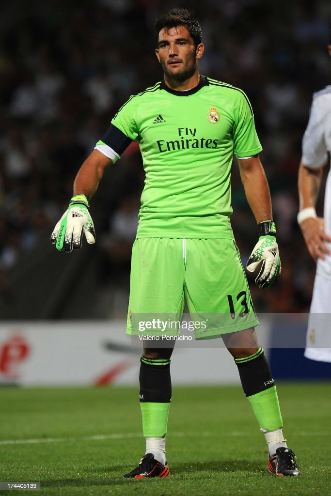 Antonio Adan of Real Madrid in action during the Pre Season match between Olympique Lyonnais and Real Madrid at Gerland Stadium on July 24, 2013 in Lyon, France.
