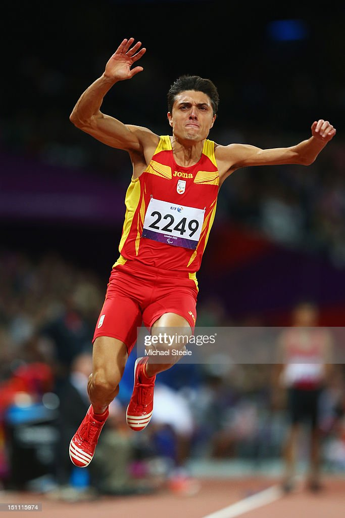 Antonio Andujar Arroyo of Spain competes in the Men's Triple Jump - F46 Final on day 3 of the London 2012 Paralympic Games at Olympic Stadium on September 1, 2012 in London, England.