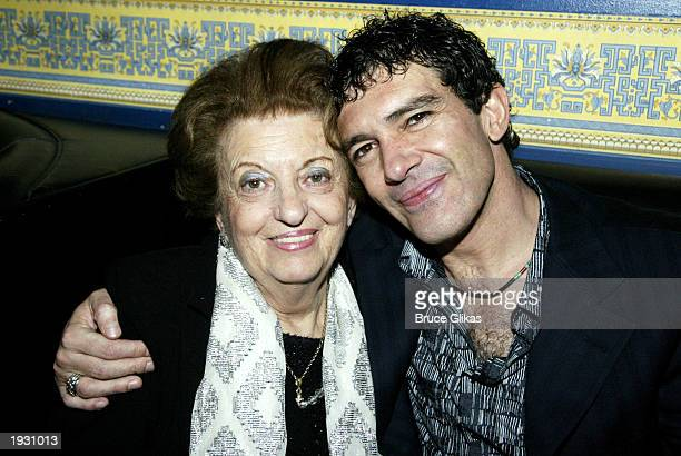 Antonio Banderas and his mother Ana Banderas attend the opening night party for the Roundabout Theater Company production of 'Nine' at the China Club...