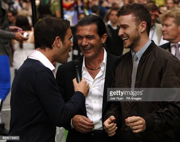 Antonio Banderas and Justin Timberlake are interviewed by Dave Berry as they arrive for the UK Premiere of Shrek The Third at the Odeon Cinema in...