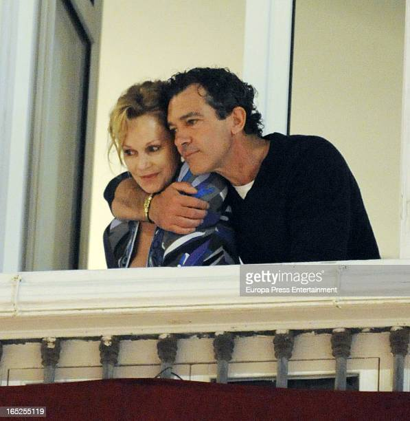 Antonio Banderas and Melanie Griffith attend procession during the Holy Week on March 26 2013 in Malaga Spain