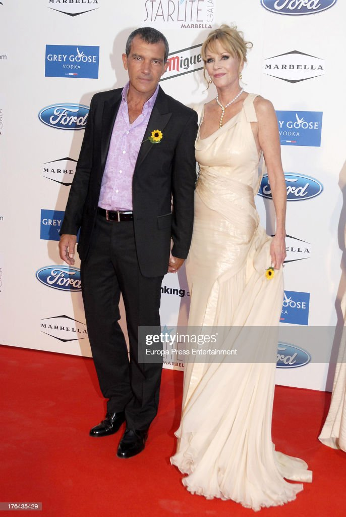 Antonio Banderas and Melanie Griffith attend the 4rd annual Starlite Charity Gala on August 10 2013 in Marbella Spain