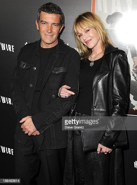 Antonio Banderas and Melanie Griffith attends the 'Haywire' Los Angeles Premiere at DGA Theater on January 5 2012 in Los Angeles California