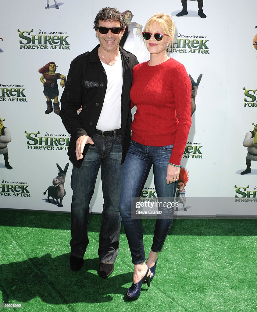Antonio Banderas and Melanie Griffith attends the 'Shrek Forever After' Los Angeles Premiere at Gibson Amphitheatre on May 16, 2010 in Universal City, California.
