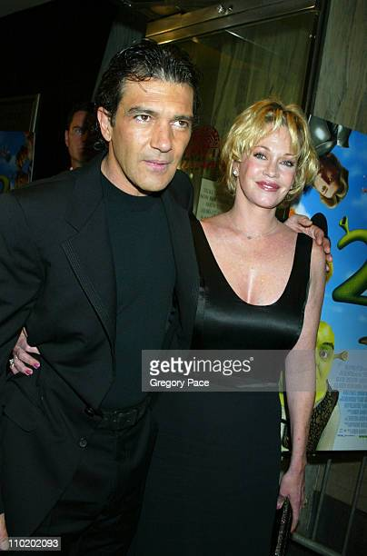 Antonio Banderas and Melanie Griffith during 'Shrek 2' New York Premiere at Beekman Theater in New York City New York United States