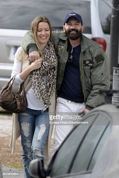 Antonio Banderas and Nicole Kimpel are seen on December 23 2015 in Marbella Spain