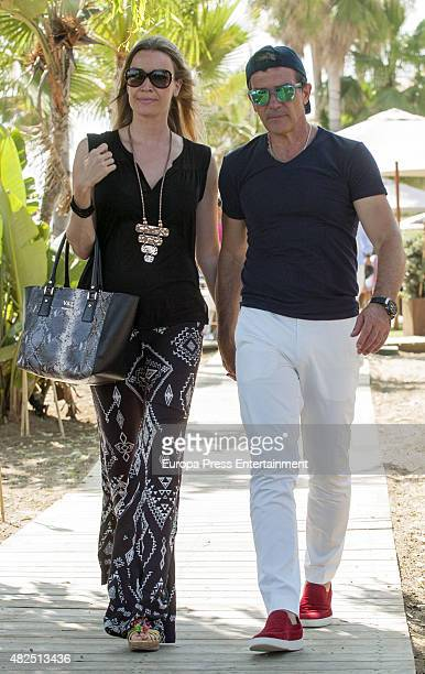 Antonio Banderas and Nicole Kimpel are seen on July 17 2015 in Marbella Spain