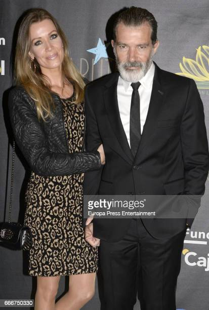Antonio Banderas and Nicole Kimpel attend Gala Dinner of Lagrimas and Favores Foundation during Holy Week celebration on April 7 2017 in Malaga Spain