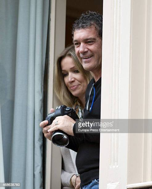 Antonio Banderas and Nicole Kimpel attend Holy procession during Holy Week celebration on March 31 2015 in Malaga Spain