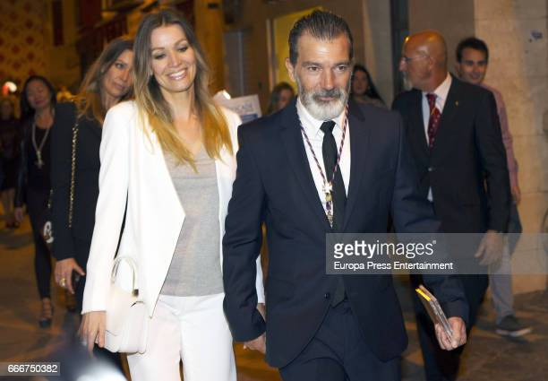 Antonio Banderas and Nicole Kimpel attend Palm Sunday procession during the Holy Week celebrations on April 9 2017 in Malaga Spain