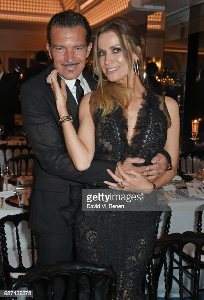 Antonio Banderas and Nicole Kimpel attend the de Grisogono 'Love On The Rocks' party during the 70th annual Cannes Film Festival at Hotel du...