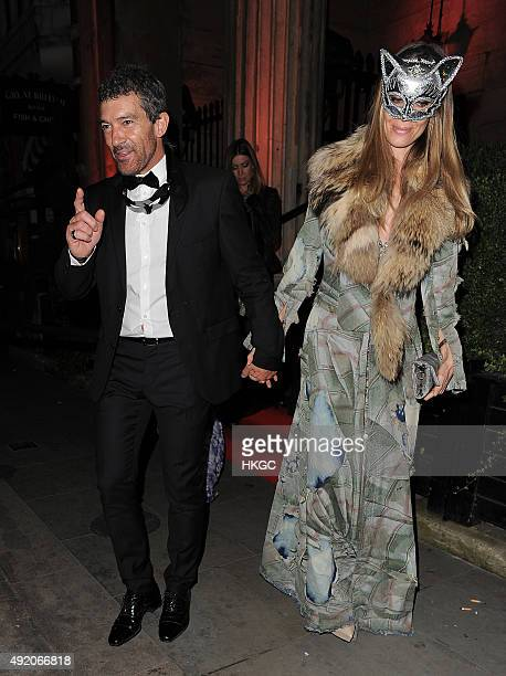 Antonio Banderas and Nicole Kimpel leave Eva Cavalli's VIP Birthday party in Mayfair on October 9 2015 in London England