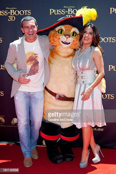Antonio Banderas and Salma Hayek arrive at the 'Puss in Boots' Australian Premiere at HOYTS Entertainment Quarter on November 27 2011 in Sydney...