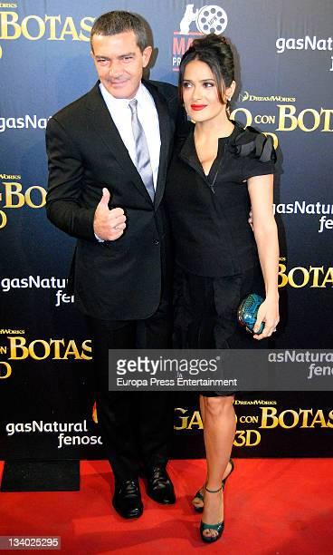 Antonio Banderas and Salma Hayek attend 'Puss in Boots' premiere at Kinepolis Cinema on November 23 2011 in Madrid Spain