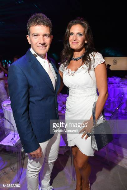 Antonio Banderas and Veronica Bocelli attend Celebrity Fight Night on September 10 2017 in Rome Italy