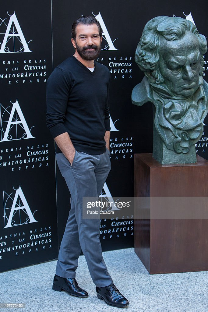 <a gi-track='captionPersonalityLinkClicked' href=/galleries/search?phrase=Antonio+Banderas&family=editorial&specificpeople=171176 ng-click='$event.stopPropagation()'>Antonio Banderas</a> attends a photocall as the Spanish Cinema Academy announced him as the winner of the honorary Goya cinema award to be received next February on October 24, 2014 in Madrid, Spain.