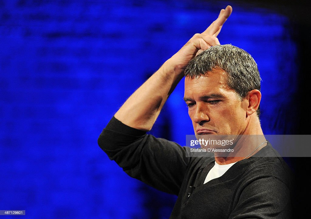 <a gi-track='captionPersonalityLinkClicked' href=/galleries/search?phrase=Antonio+Banderas&family=editorial&specificpeople=171176 ng-click='$event.stopPropagation()'>Antonio Banderas</a> attends Che Tempo Che Fa' Tv Show on April 27, 2014 in Milan, Italy.