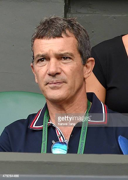 Antonio Banderas attends the Dustin Brown v Rafael Nadal match on day four of the Wimbledon Tennis Championships at Wimbledon on July 2 2015 in...