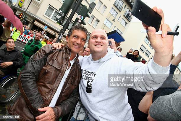 Antonio Banderas attends the premiere of the film 'The Expendables 3' at Residenz Kino on August 6 2014 in Cologne Germany