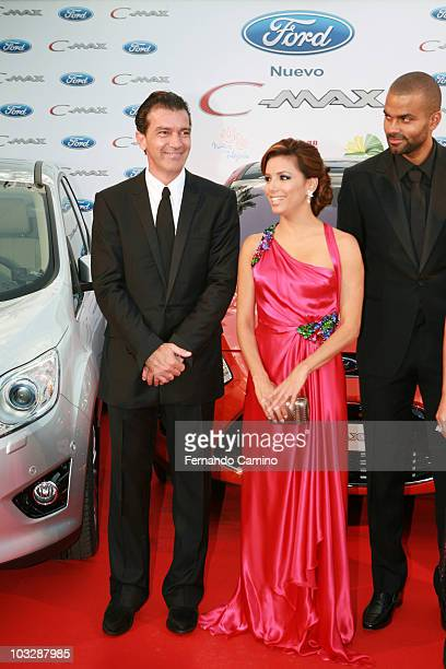 Antonio Banderas Eva Longoria Parker and TonyParker attend Starlite Gala on August 7 2010 in Benahavis Spain