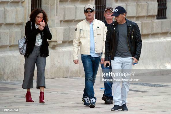 Antonio Banderas his brother Javier Banderas his sisterinlaw Maria Angeles and his fatherinlaw are seen going to Fine Arts Museum at Aduanas Palace...