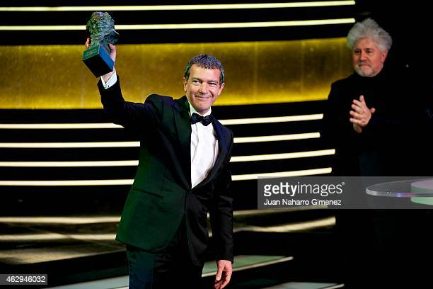 Antonio Banderas holds the award for Honorary Goya Awards during the 2015 edition of the 'Goya Cinema Awards' ceremony at Centro de Congresos...