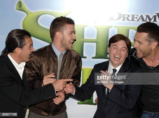 Antonio Banderas Justin Timberlake Mike Myers and Rupert Everett arrive for the UK Premiere of Shrek The Third at the Odeon Cinema in Leicester...