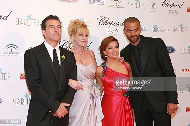 Antonio Banderas Melanie Griffith Eva Longoria and Tony Parker attend Starlite Gala on August 7 2010 in Benahavis Spain