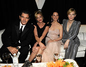 NEW YORK JUNE 13 Antonio Banderas Melanie Griffith Lucy Liu and Cate Blanchett in the green room at the 64th Annual Tony Awards at Radio City Music...