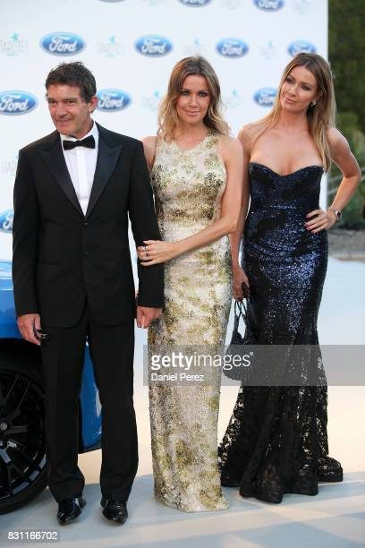 Antonio Banderas Nicole Kimpel and Barbara Kimpel attend Starlite Gala on August 13 2017 in Marbella Spain