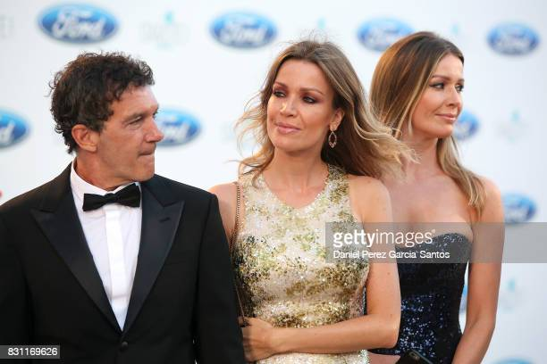 Antonio Banderas Nicole Kimpel and Barbara Kimpel attend Starlite Gala on August 13 2017 in Marbella Spain