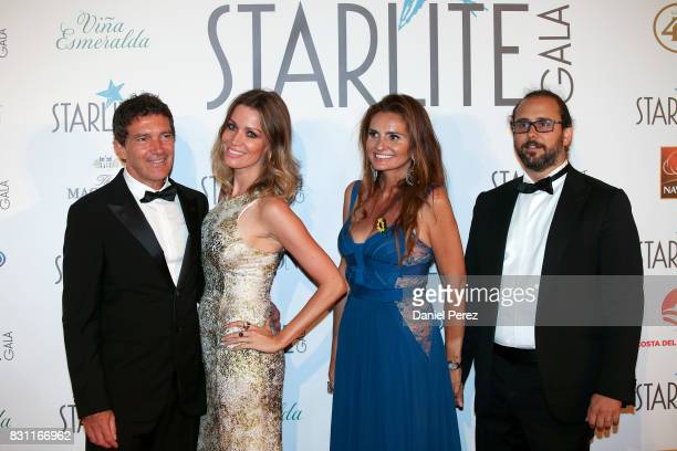 Antonio Banderas Nicole Kimpel and Sandra GarciaSanjuan attend Starlite Gala on August 13 2017 in Marbella Spain