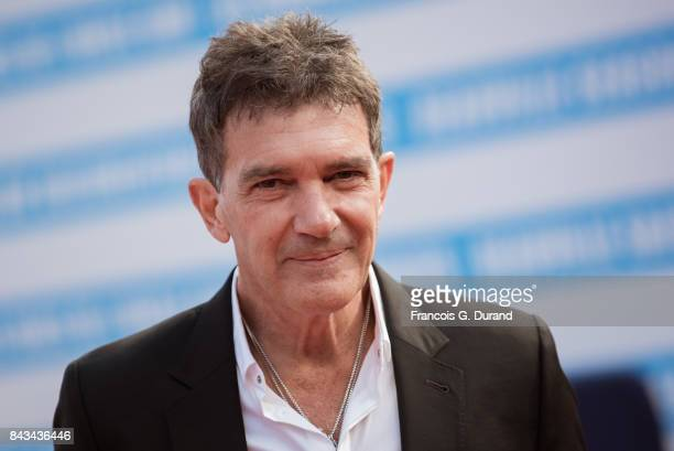 Antonio Banderas poses on the red carpet before the screening of the movie 'The Music Of Silence' during the 43rd Deauville American Film Festival on...