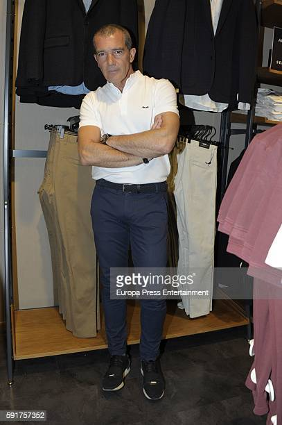 Antonio Banderas presents his first clothes collection for men at Corte Ingles on August 9 2016 in Marbella Spain
