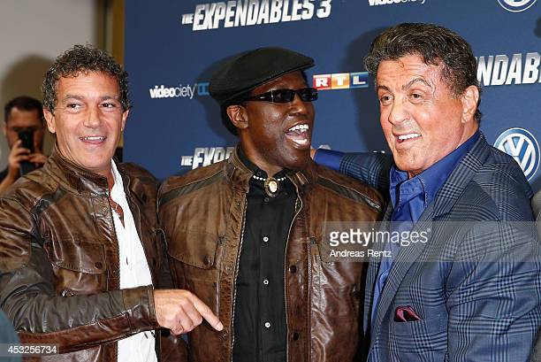 Antonio Banderas Wesley Snipes and Sylvester Stallone attend the German premiere of the film 'The Expendables 3' at Residenz Kino on August 6 2014 in...