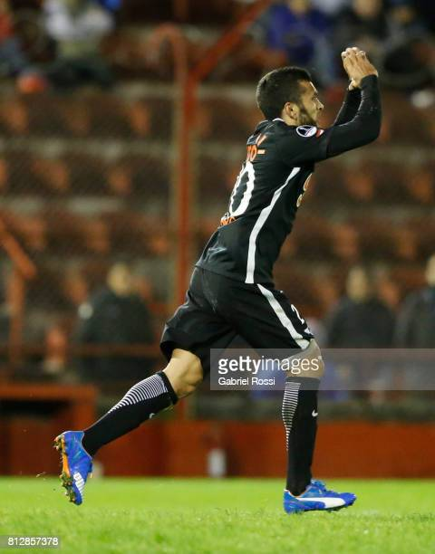 Antonio Bareiro of Libertad celebrates after scoring the fourth goal of his team during a first leg match between Huracan and Libertad as part of...