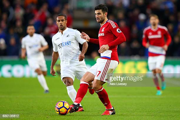 Antonio Barragan of Middlesbrough in action during the Premier League match between Middlesbrough and Swansea City at Riverside Stadium on December...