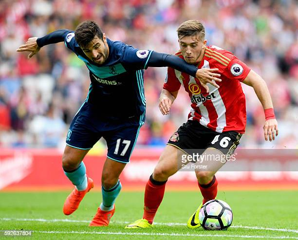 Antonio Barragan of Middlesbrough is closed down by Lynden Gooch of Sunderland during the Premier League match between Sunderland and Middlesbrough...