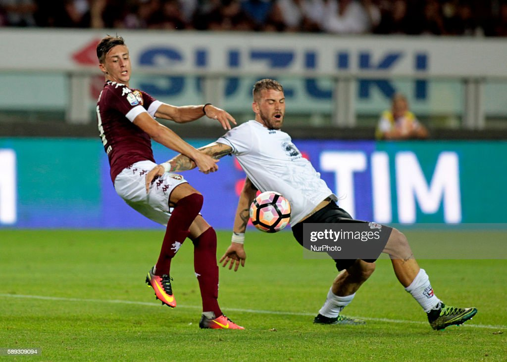 Antonio Barreca and Andrea Lamantia during Tim Cup 20162017 match between Torino FC and FC Pro Vercelli at the Olympic Stadium of Turin on august 013...