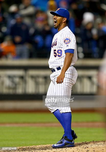 Antonio Bastardo of the New York Mets celebrates the win over the San Francisco Giants at Citi Field on April 29 2016 in the Flushing neighborhood of...