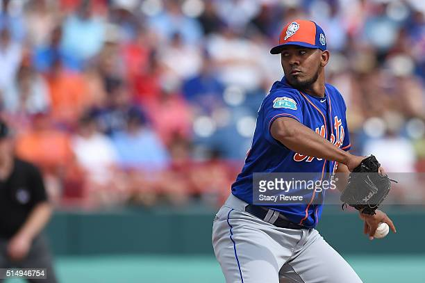 Antonio Bastardo of the New York Mets throws a pitch during a spring training game against the Washington Nationals at Space Coast Stadium on March...
