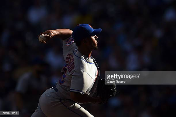 Antonio Bastardo of the New York Mets throws a pitch during the eighth inning of a game against the Milwaukee Brewers at Miller Park on June 11 2016...