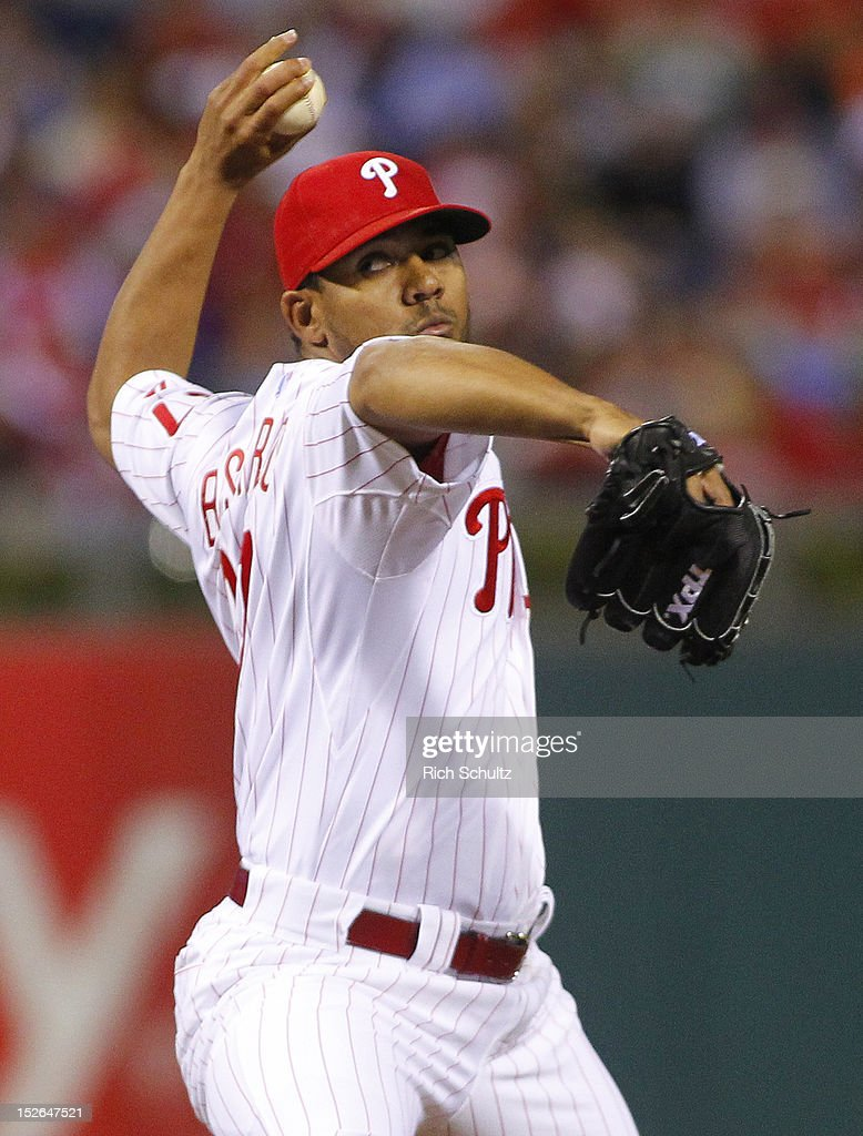 Antonio Bastardo #37 of the Philadelphia Phillies delivers a pitch against the Atlanta Braves during a MLB baseball game on September 21, 2012 at Citizens Bank Park in Philadelphia, Pennsylvania. The Phillies defeated the Braves 6-2.